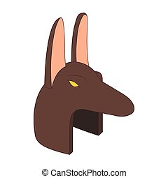 Anubis head icon in cartoon style on a white background