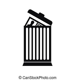 Resume thrown away in the trash can icon in simple style...