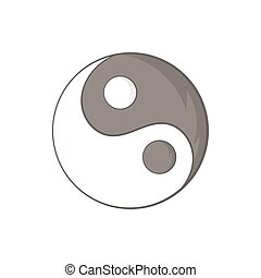 Yin Yang sign icon in cartoon style on a white background