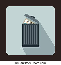 Resume thrown away in the trash can icon in flat style on a...