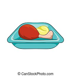 Airplane lunch icon, cartoon style