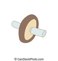 Roller press icon, cartoon style