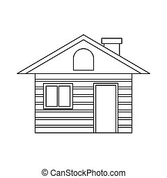 Wooden log house icon, outline style