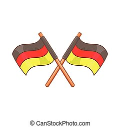 Two crossed flags of Germany icon, cartoon style - Two...
