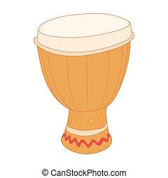 Drum of aborigines icon, cartoon style