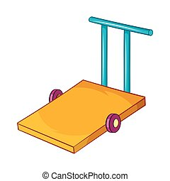 Baggage trolley icon in cartoon style