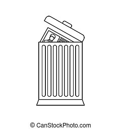 Resume thrown away in the trash can icon in outline style...