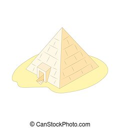 Pyramid of Giza, Egypt icon, cartoon style - Pyramid of...