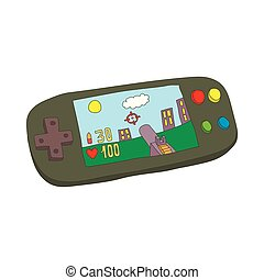 Mobile gaming console icon, cartoon style