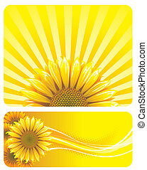 Sunflower and yellow background design. Vector layered.