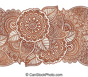 Indian henna tattoo style vector floral horizontal seamless...