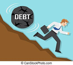 debt and failure in business - businessman running fast from...