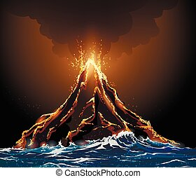 Volcanic Eruption - Eruption volcano island in the ocean...