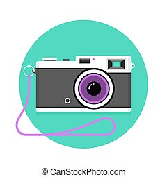 Icon of vintage photo camera. Black and white camera on a mint background