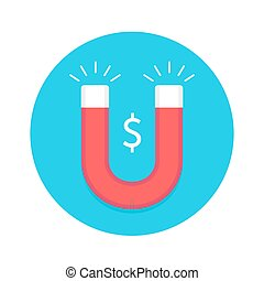 Icon of magnet. Red and white magnet with symbol Dollar