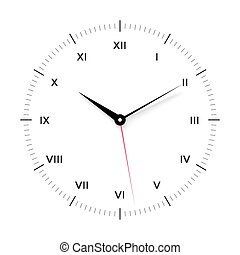 White clock face for with black and red pointer. Roman numerals