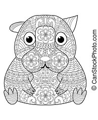 Hamster coloring book vector for adults - Hamster coloring...