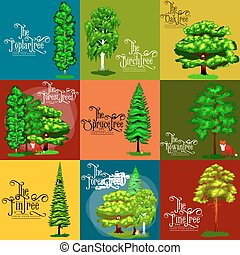 Wild forest green trees, plants and animals. Cartoon vector...