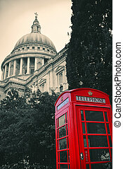 telephone booth and St Pauls - Red telephone booth and St...