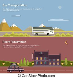 Bus and car with luggage or baggage on road near mountains...