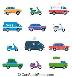Collection of different cars like ambulance and post...