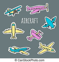 Set of air transport white silhouettes. - A set of air...