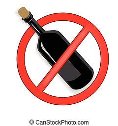 No alcohol sign vector on white background