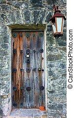 Old Wooden Door - An old wooden door in the fort Presidio La...