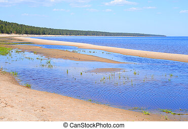 Beach on Ladoga lake at morning. - Beach on Ladoga lake at...
