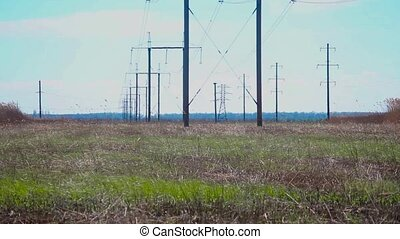 panorama power lines - field with the power lines