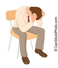 Overworked businessman is under stress with headache. Worried man