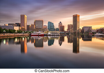Baltimore Inner Harbor Skyline - Baltimore, Maryland, USA...