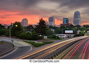 Winston-Salem, North Carolina Skyline - Winston-Salem, North...