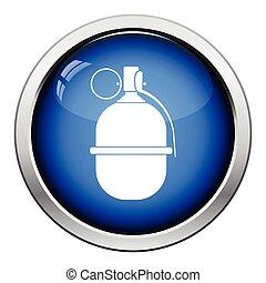 Attack grenade icon Glossy button design Vector illustration...