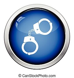 Handcuff icon Glossy button design Vector illustration