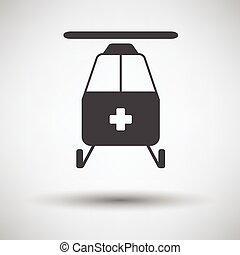 Medevac icon on gray background, round shadow. Vector...