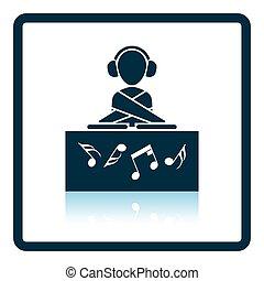 Night club DJ icon. Glossy button design. Vector...