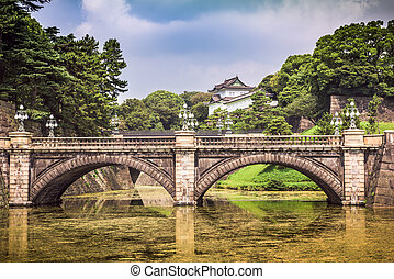 Tokyo Imperial Palace of Japan moat and bridge