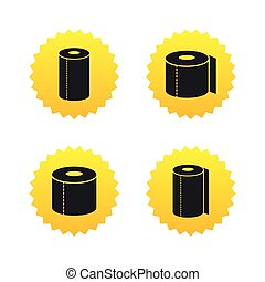 Toilet paper icons Kitchen roll towel symbols WC paper signs...
