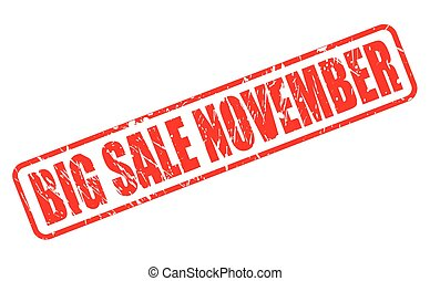 BIG SALE NOVEMBER RED STAMP TEXT ON WHITE