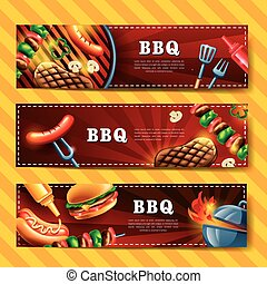 Delicious BBQ banner design set with gourmet illustration