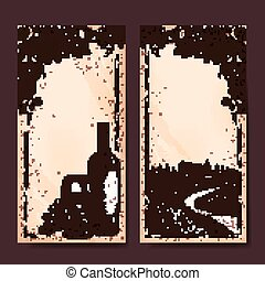 Retro winery banner template design. Hand drawn style.