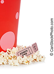 Two tickets and popcorn bucket - Popcorn bucket with two...