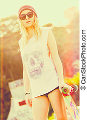 Skater Girl Wearing Beanie - Skater girl wearing beanie with...
