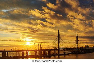 konstruktion, solnedgång, plats