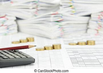 鉛筆, 金, 計算器, 硬幣, 步驟, 地方, 有, 迷離