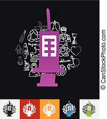 syringe paper sticker with hand drawn elements - hand drawn...