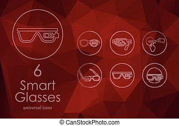 Set of high-tech glasses icons - high-tech glasses modern...