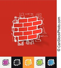 brick paper sticker with hand drawn elements - hand drawn...