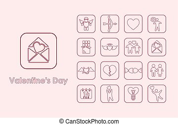 Set of Valentinersquo;s Day simple icons - It is a set of...